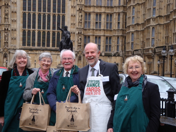 Yarpole Shop volunteers outside the Houses of Parliament